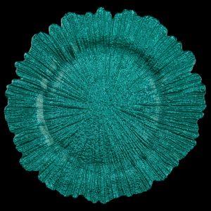 Sea Sponge Turquoise Glass Charger