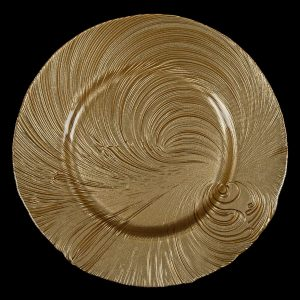 Tidal Wave Gold Glass Charger