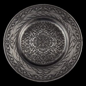 Versailles Silver Black Glass Charger