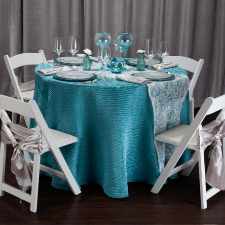 Aqua Rhythm Tablescape with White Aria Table Runner