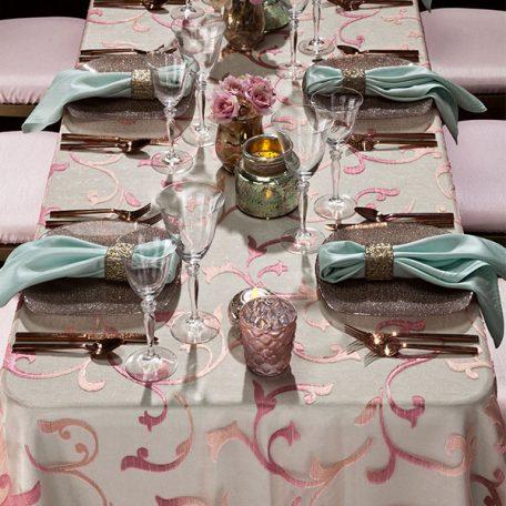Blush Ambiance Sheer over a Julep Shantung Linen with a Julep Shantung Napkin