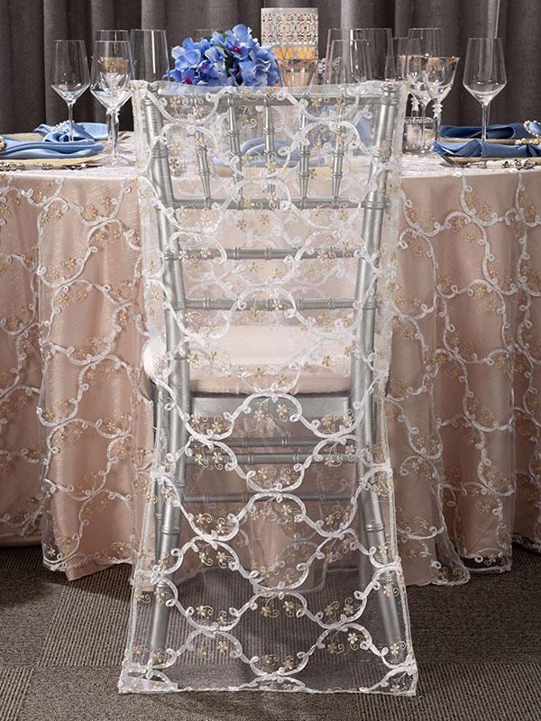 Gold Grandeur Sheer Table Overlay For Rent Nationwide Rental Weddings Events