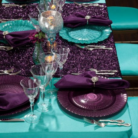 Lagoong Shantung Tablescape with our Plum Mikayla Table Runner