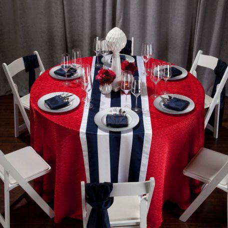 Red Rhythm with Navy Mod Stripe Runner Tablescape