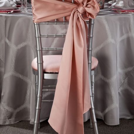 Silver Apiary Table Linen. Silver Chiavari Chair with Pink Champagne Lamour Chair Sash and Chair Pad cover.