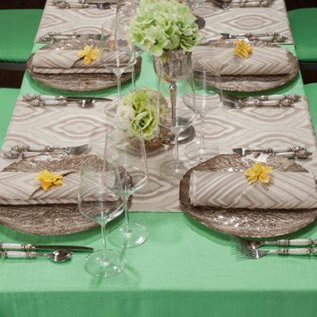 Spearmint Shantung Tablescape with Ecru Jacinda Table Runners and Ecru Xander Napkins