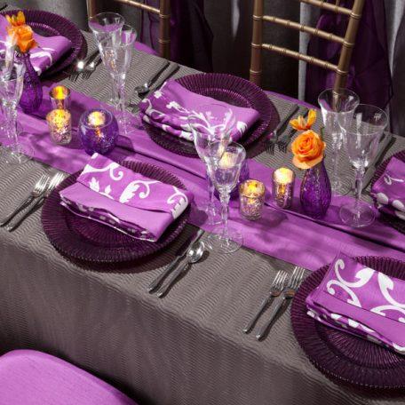 Steel Maxwell Tablescape with Orchid Vintage Napkins