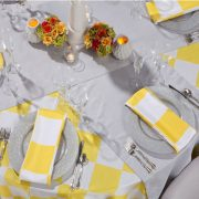 Rental of table linen and glass charger plates for weddings and events