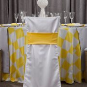 Rent our Sunshine Check Shantung Table Linen for parties and special occasions