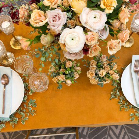 Tumeric Velvet Table Linen