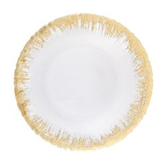 Glass Gold Frost Food Safe Charger