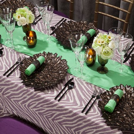 Lavender Zecora Tablescape with Spearmint Shantung Dinner Napkins and Table Runner