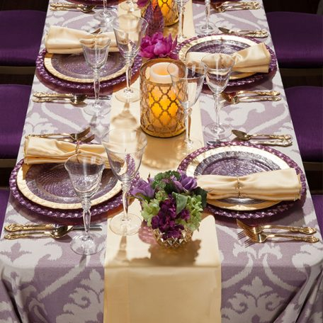 Lavender Zuri Tablescape with Buttercup Lamour and Table Runner