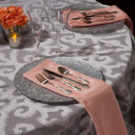 Silver Bravado Table Linen shown with our Apricot Shantung Dinner Napkins