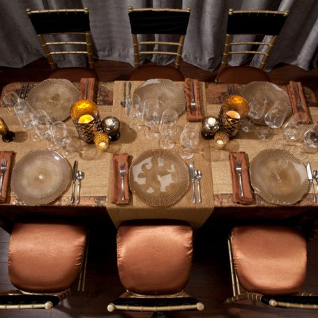 Copper Birch Tablescape with Gold Cotier Table Runner
