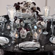 The glistening look of this luxurious Onyx Coco table linen is a great way to enhance the overall mood of your special event. Rent it here today.