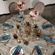 You can use this elegant Interlock Glam table linen as a foundation for event tables at nearly any special occasion. Rent it here today at Fabulous Events.