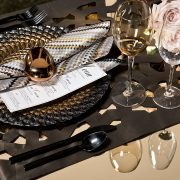 The unparalleled elegance of this Bronze Molina table runner in the Gold Kroft Kehoe Collection, from our Designer Series can enhance any event.