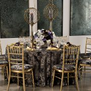 Onyx Vera has a wonderful drape and takes lighting beautifully. Cover a table with this linen to serve as a gorgeous foundation for nearly any event theme.