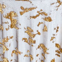 Create stunning tablescapes with Gold Sequin Mermaid table runners, reversible sequins linen design in gold. Shop our selection of linen here.