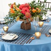 The appeal of Fabulous Events' metal Placemats is the unexpected drama of each unique shape, pattern and finish. Our Bronze Deco Metal Placemat, with its traditional grid pattern, has a powerful presence that commands attention and will complement rather than overpower other event table choices. Rent them here today.