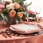 Trendy, yet appropriate for myriad event themes, the Bronze Edge Metal Placemat has a depth of appeal that allows it to move easily from one season to another. It will adapt well to earthy, rustic, traditional and minimalist settings. Rent this metal placemat here today along with other rentals for event tables.