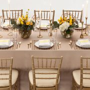 With its supremely simple shape and controlled, but edgy pattern, the Gold Deco Metal Placemat will highlight fine china, gold-rimmed crystal and simple flatware in classic Deco-era style. It will also support and enhance an over-the-top ethnic theme of stylized patterns and brilliant colors. Rent it here today.