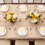With its supremely simple shape and controlled, but edgy pattern, the Gold Deco Metal Placemat will highlight fine china, gold-rimmed crystal and simple flatware in classic Deco-era style. It would also support and enhance an over-the-top ethnic theme of stylized patterns and brilliant colors. Rent it here.
