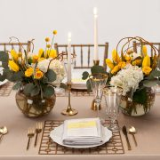 With its supremely simple shape and controlled, but edgy pattern, the Gold Deco Metal Placemat will highlight fine china, gold-rimmed crystal and simple flatware in classic Deco-era style. Use this to enhance an over-the-top ethnic theme of stylized patterns and brilliant colors. Rent it here from Fabulous Events.