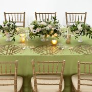 Our Gold Edge Metal Placemat is elegantly simple, with a soothing graphic pattern that has a calming Zen-like personality. The pattern is somehow reminiscent of bamboo stalks, simple enough to allow other patterns to take center stage, but bold enough to add interest to any setting. Rent it here from Fabulous Events