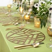 Our Gold Edge Metal Placemat is elegantly simple, with a soothing graphic pattern that has a calming Zen-like personality. The pattern is somehow reminiscent of bamboo stalks, simple enough to allow other patterns to take center stage, but bold enough to add interest to any setting. Rent them here from Fabulous Events