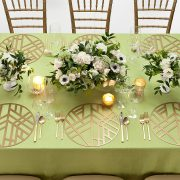 The Gold Edge Metal Placemat is elegantly simple, with a soothing graphic pattern that has a calming Zen-like personality. The pattern is somehow reminiscent of bamboo stalks, simple enough to allow other patterns to take center stage, but bold enough to add interest to any setting. Rent them here from Fabulous Events