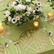 The Gold Edge Metal Placemat is elegantly simple, with a soothing graphic pattern that has a calming Zen-like personality. The pattern is somehow reminiscent of bamboo stalks, simple enough to allow other patterns to take center stage, but bold enough to add interest to any table setting. Rent them from Fabulous Events