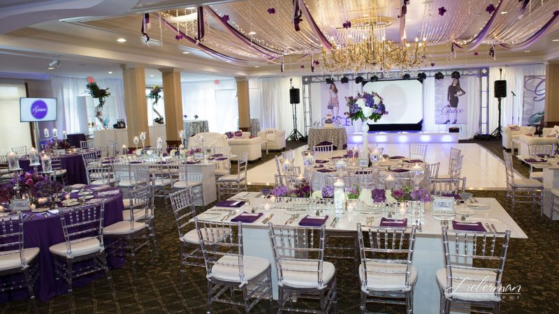 Purple Majesty table linens for rental.