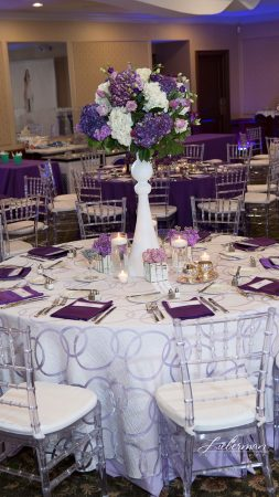 Our White Apollow sheer overlay looks great on any event table. Shwon here over lilac