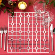 The Platinum Deco Metal Placemat from Fabulous Events may seem simple in form, but it is distinctive and prompts a dramatic reaction. Deco is one of the two unique patterns from our metal placemat collection. This is destined to create lasting impressions on any event table. Rent it here today.