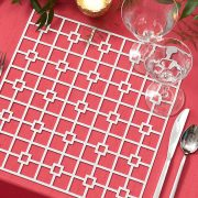 The Platinum Deco Metal Placemat from Fabulous Events may seem simple in form, but it is distinctive and prompts a dramatic reaction. Deco is one of the two unique patterns and the metal placemat collection is destined to create lasting impressions on any event table. Rent it here today.