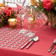 The Platinum Deco Metal Placemat from Fabulous Events may seem simple in form, but it is distinctive and prompts a dramatic reaction from everyone. One of the two unique patterns and the metal placemat collection is destined to create lasting impressions on any event table. Rent it here today.