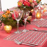 The Platinum Deco Metal Placemat from Fabulous Events may seem simple in form, but it is distinctive and prompts a dramatic reaction from all. One of the two unique patterns and the metal placemat collection is destined to create lasting impressions on any event table. Rent it here today.
