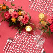 The Platinum Deco Metal Placemat from Fabulous Events may seem simple in form, but it is distinctive and prompts a dramatic reaction from all. One of the two unique patterns and the metal placemat collection is destined to create lasting impressions on any event table. Rent metal charger placemats from Fabulous Events Today.