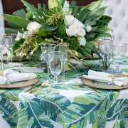 Breakers Palm, part of the Palm Beach Chic collection, is a stylish palm leaf pattern linen that can turn any special occasion into a tropical paradise. Palm Beach Chic is a cool and refreshing collection filled with saturated hues, bold prints and tropical accents. Shop the entire collection!