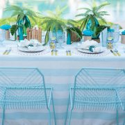 Saltwater Cabana Stripe's watery blue and white strip combination is a perfect fresh playful choice for a number of affairs. Stylish and flexible, this member of the Palm Beach Chic linen family offers a wealth of possibilities! Browse the entire collection today!