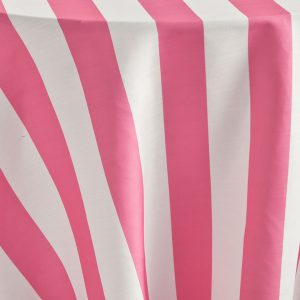 Watermelon Cabana Stripe's pink and white stripe combination is a perfect fresh playful choice for a number of affairs. Stylish and flexible, this member of the Palm Beach Chic linen family offers a wealth of possibilities! Browse the entire collection today!