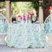 Sanibel, a patterned linen, features a delicate tracery in shades of assorted island greens with vibrant pops of cerise. Part of the Palm Beach Chic collection, Sanibel is powerful enough to be the only pattern in the room or mixed in with other patterns. Shop the entire collection today!