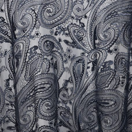 Navy Paisley Lace shown over White Classic Poly