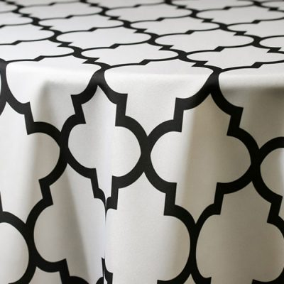 Black and White Table Linen Rentals for Special Events.