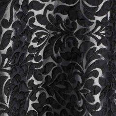 Noir Amara Black Damask Table Linen Rental for Events