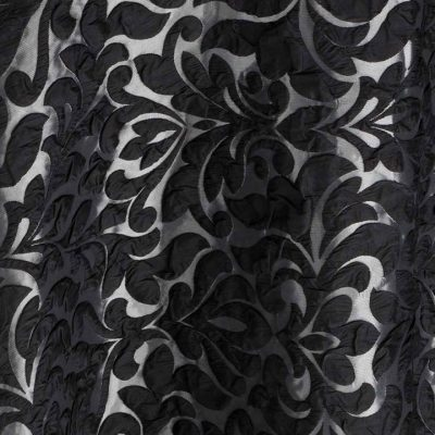 Noir Amara Black Damask Table Linen Rental for Events