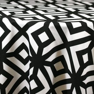Rent Black and White Geometric print table linens for parties.