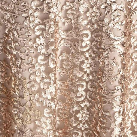 Lumiere Gold Sequin Floral Table Linen for Event Rental